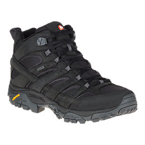 Merrell Men's Moab 2 Mid Waterproof Smooth Leather Hiking Boots - Black