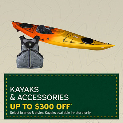 Select Kayaks & Accessories Up To $300 Off*