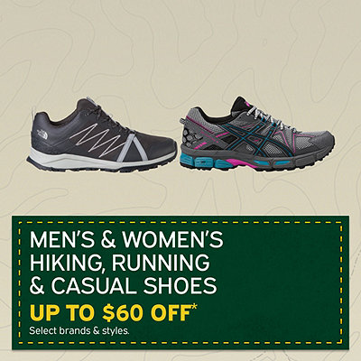 Men's & Women's Hiking, Running & Casual Shoes Up to $60 Off