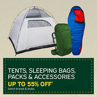 Select Tents, Sleeping Bags, Packs & Accessories Up To 55% Off*