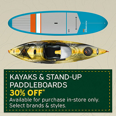 Select Kayaks & Stand-Up Paddleboards 30% Off*