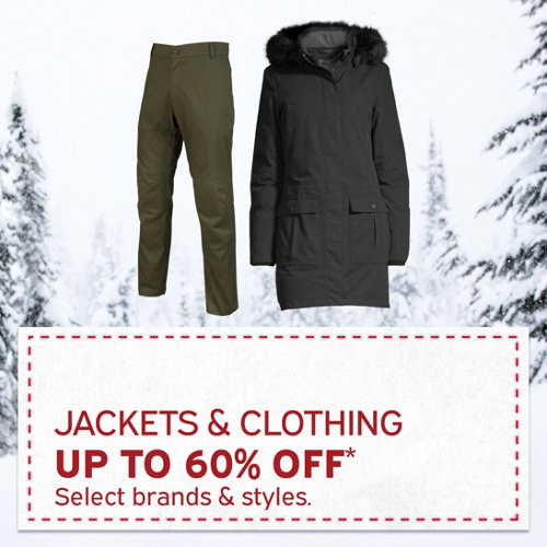 Jackets & Clothing up to 60% Off* Select brands and styles.