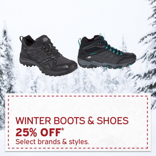 Winter Boots & Shoes 25% Off* Select brands & styles.