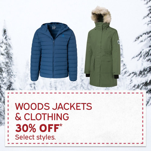 Woods Jackets & Clothing 30% Off* Select brands & styles.