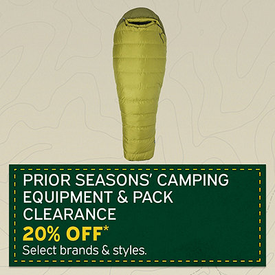 Select Prior Seasons Camping Equipment and Pack Clearance 20% Off*