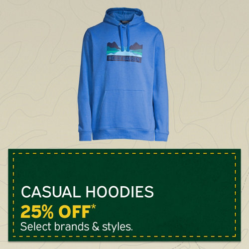 Casual Hoodies 25% Off* Select Brands and Styles.