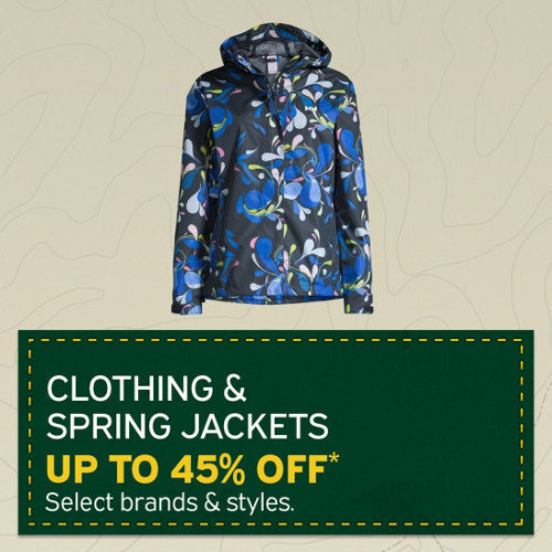Clothing & Spring Jackets Up to 45% Off* Select Brands and Styles.