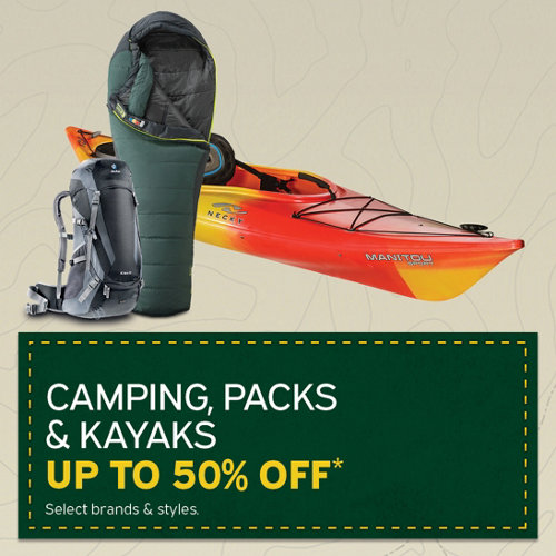 Camping , Packs & Kayaks Up to 50% Off