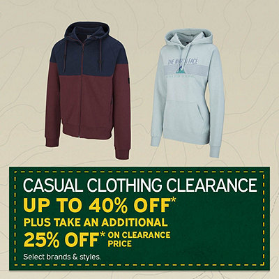 Men's & Women's Casual Clothing Clearance Up To 40% Off* Plus Take An Additional 25% Off* Our Clearance Price