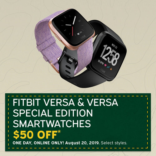 Fitbit Versa & Versa Special Edition Smartwatches $50 Off* One day, online only! August 20, 2019. Select Styles.