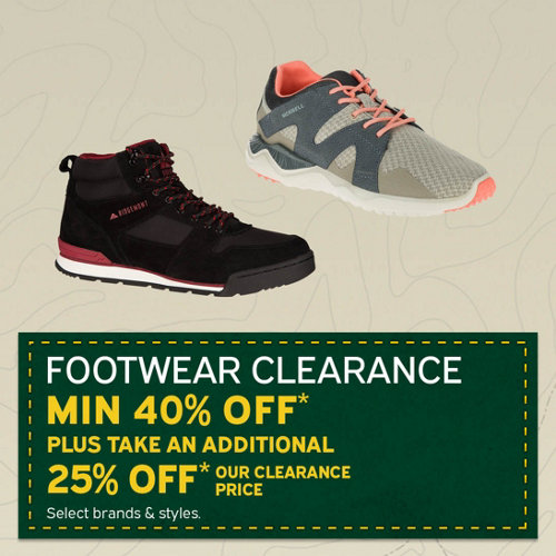 Footwear Clearance Min 40% Off* Plus Take an Additional 25% Off** Our Clearance Price. Select Brands & Styles.