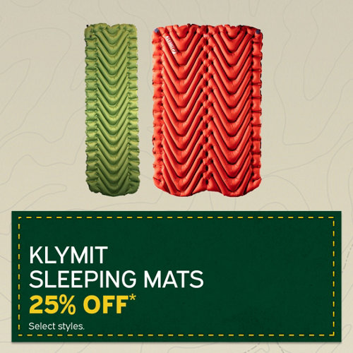 Klymit Sleeping Mats 25% Off* Select Styles.
