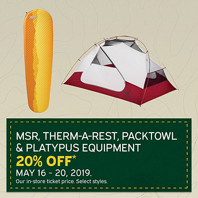 Select MSR, Therm-a-rest, Platypus & PackTowl Equipment 20% Off*