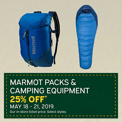 Select Marmot Packs & Camping Equipment 25% Off*