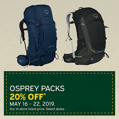 Select Osprey Packs 20% Off*