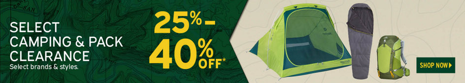 Select Camping & Pack Clearance 25% - 40% Off* Select Brands & Styles. Shop Now.