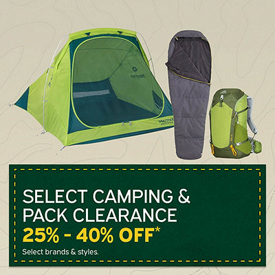 Select Camping Equipment & Packs Clearance Priced 25%-40% Off*