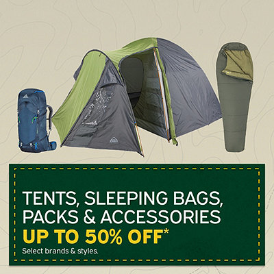 Select Tents, Sleeping Bags, Packs & Accessories Up To 50% Off*