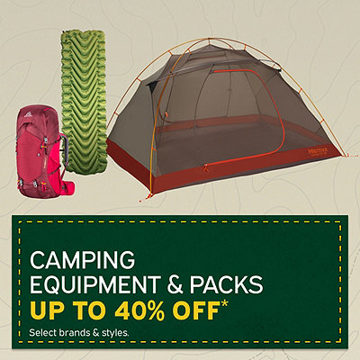 Select Camping Equipment & Packs Up To 40% Off*