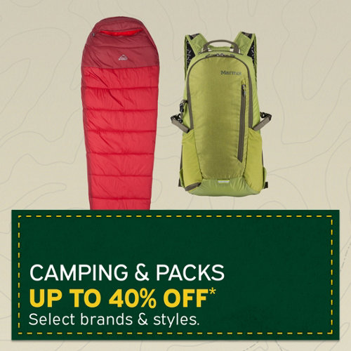 Camping & Packs Up to 40% Off* Select brands & styles.