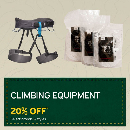 Climbing Equipment 20% Off* Select Brands & Styles.