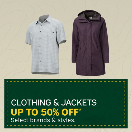 Clothing & Jackets Up to 50% Off* Select brands & styles.