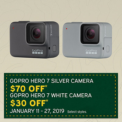 GoPro Hero7 Silver $70 Off* and GoPro Hero7 White $30 Off*