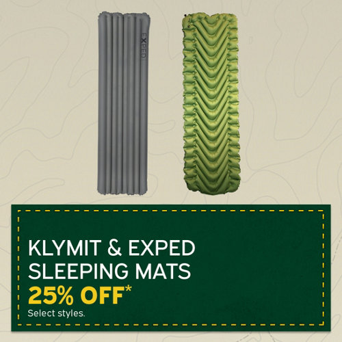 Klymit & Exped Speeing Mats 25% Off* Select styles.
