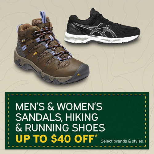 Men's & Women's Sandals, Hiking & Running Shoes up to $40 Off* Select Brands & Styles.