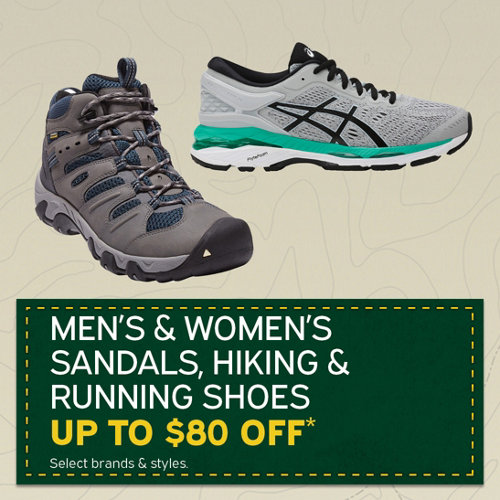 Men's & Women's Sandals, Hiking & Running Shoes Up to $80 Off*