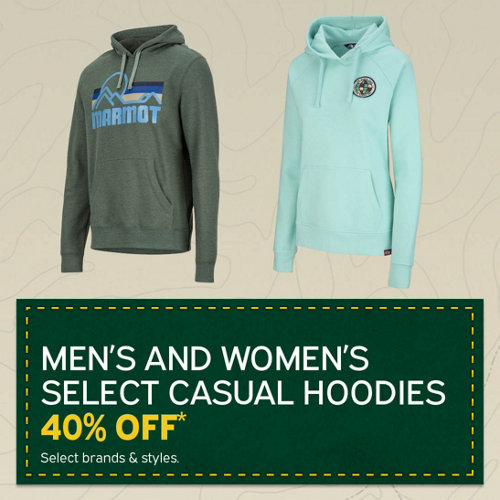 Men's & Women's Select Casual Hoodies 40% Off* Select Brands & Styles.