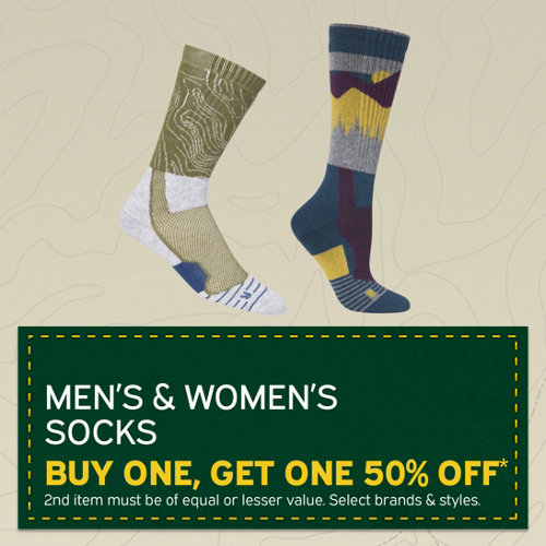 Men's & Women's Socks Buy One, Get One 50% Off* 2nd Item Must Be of Equal or Lesser Value. Select Brands & Styles.