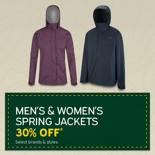 Men's & Women's Spring Jackets 30% Off* Select Brands & Styles.