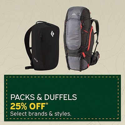 Select Packs & Duffels 25% Off*