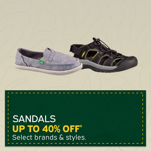Sandals Up to 40% Off* Select brands & styles.