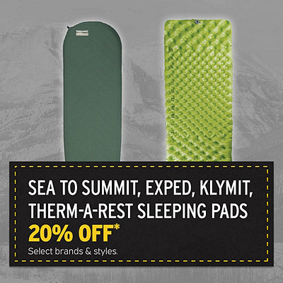 Select Sea To Summit, Klymit, Exped, Therm-a-Rest Sleeping Pads 20% Off*