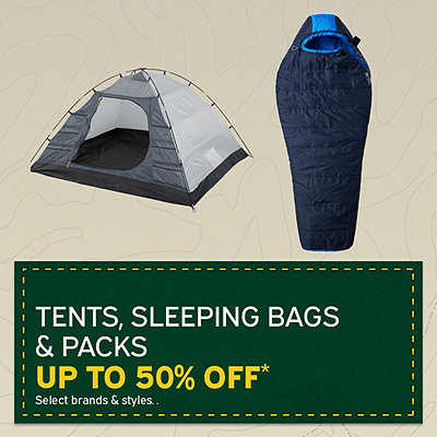 Tents, Sleeping Bags and Packs Up to 50% Off