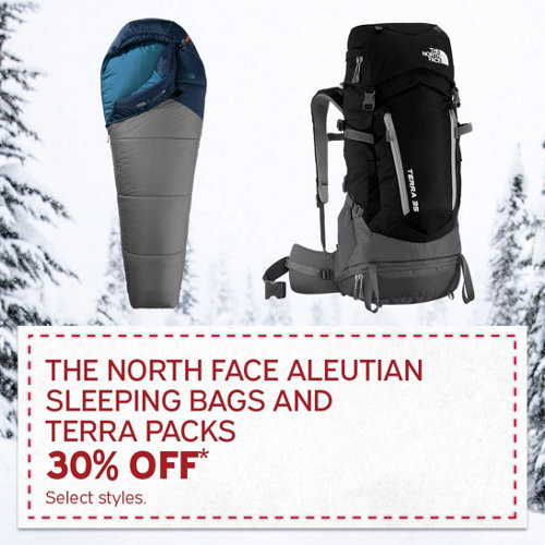 The North Face Aleutian Sleeping Bags & Terra Packs 30% Off* Select Styles.