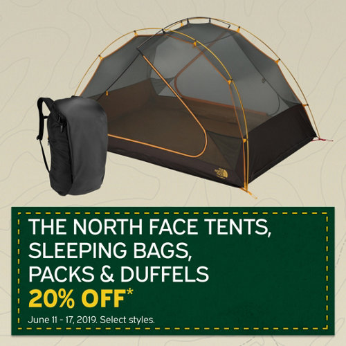 The North Face Tents, Sleeping Bags, Packs & Duffels. 20% Off* Select Styles.