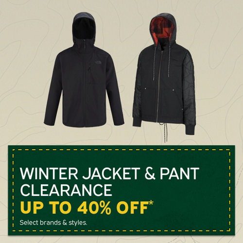 Winter Jacket & Pant Clearance Up to 40% Off* Select Brands & Styles.